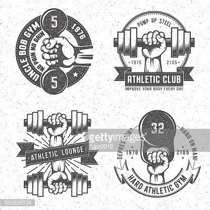Vintage gym logo Clipart Image.