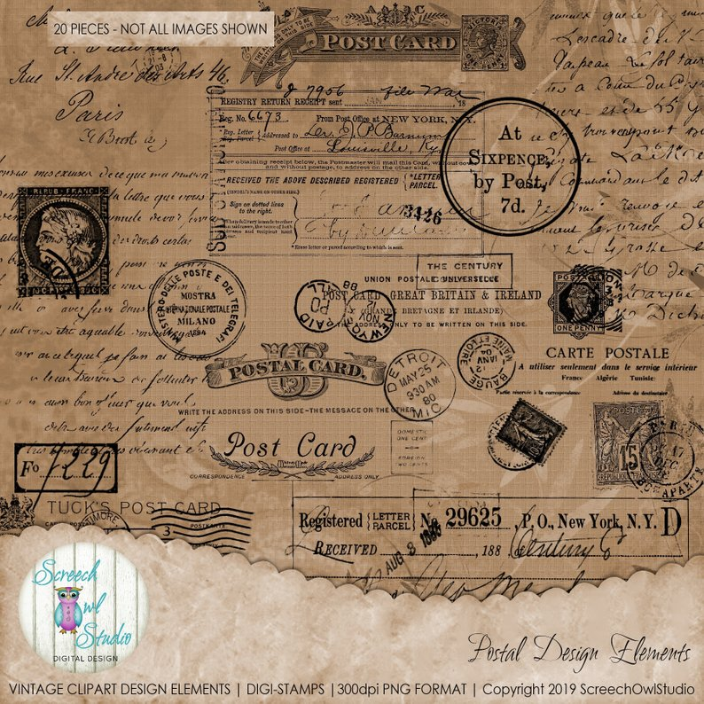Commercial Use Vintage Clip Art Design Elements, Digi Stamps.