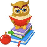 Wise Owl sitting on Pile book.