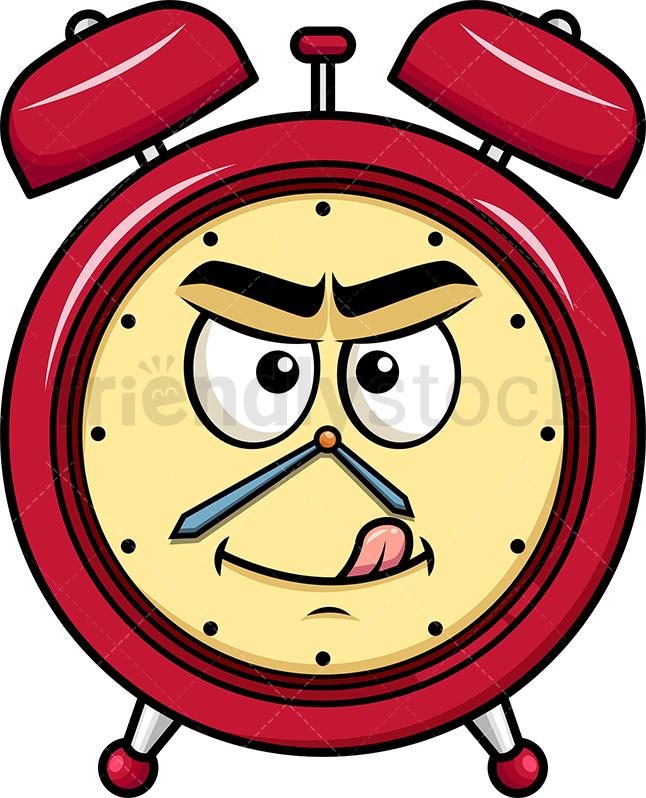 Evil Look Alarm Clock Emoji.