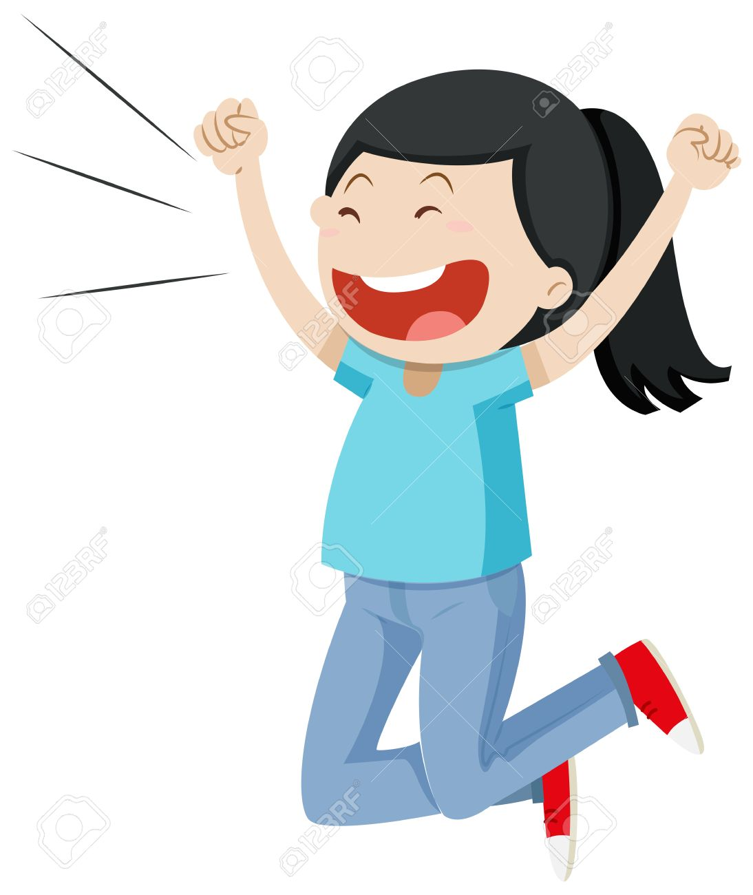 Girl jumping up with excitement » Clipart Station.