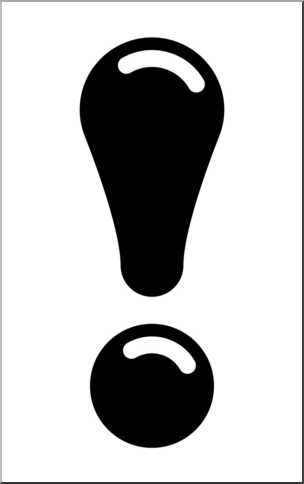 Clip Art: Punctuation: Big Exclamation Point 2 B&W 2 I abcteach.com.