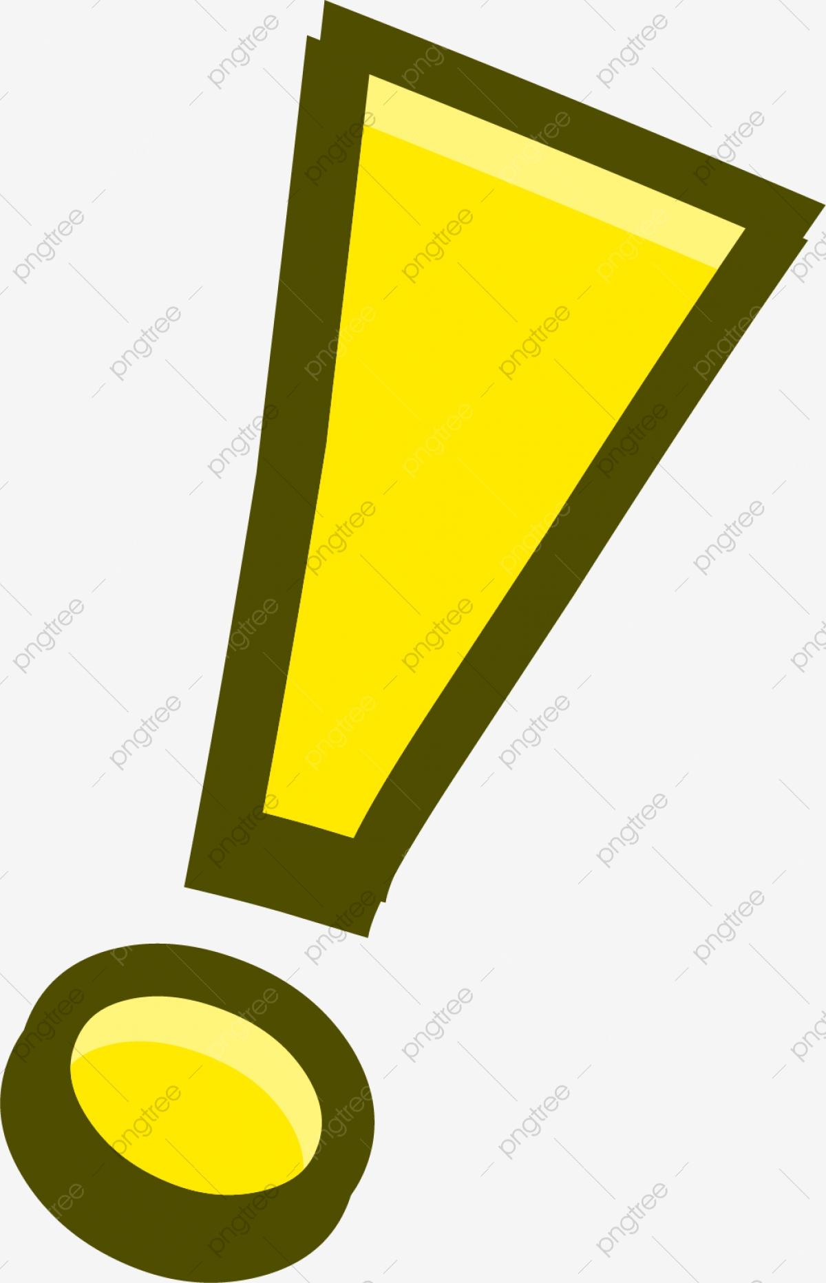 Hand Painted Yellow Exclamation Mark, Hand, Dot, Stroke PNG.