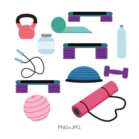 Gym Equipment Clipart.