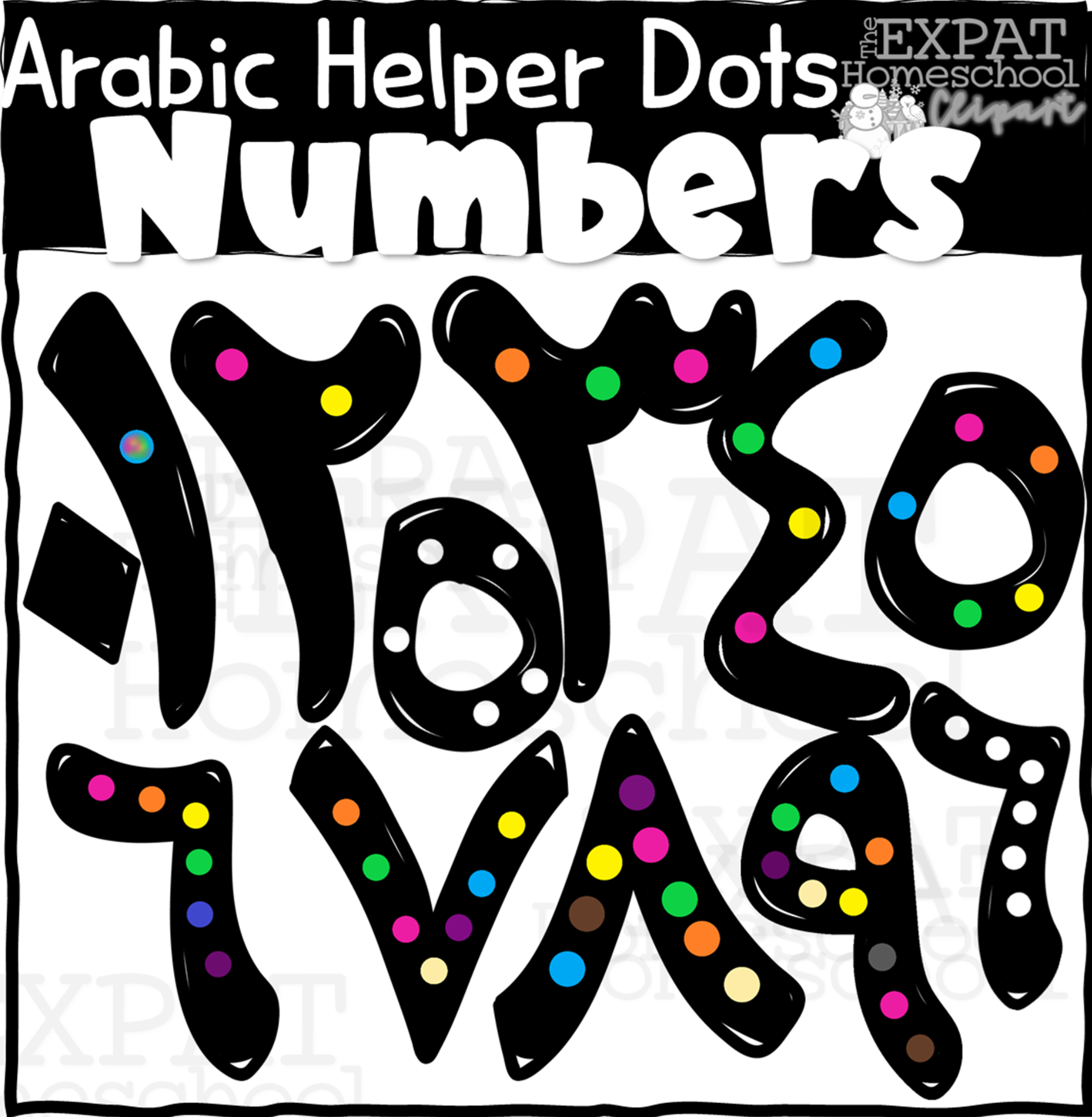 Arabic Helper Dot Numbers Clipart.