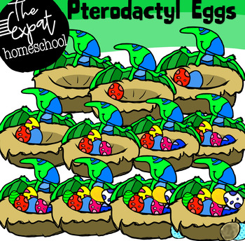 Counting Pterodactyl Eggs Clipart.