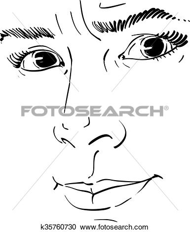 Clipart of Vector portrait of irate woman, illustration of good.