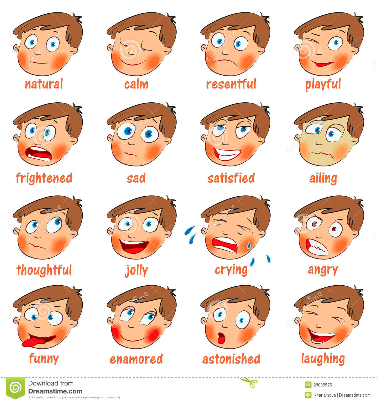 Emotions. Cartoon Facial Expressions Royalty Free Stock Photo.