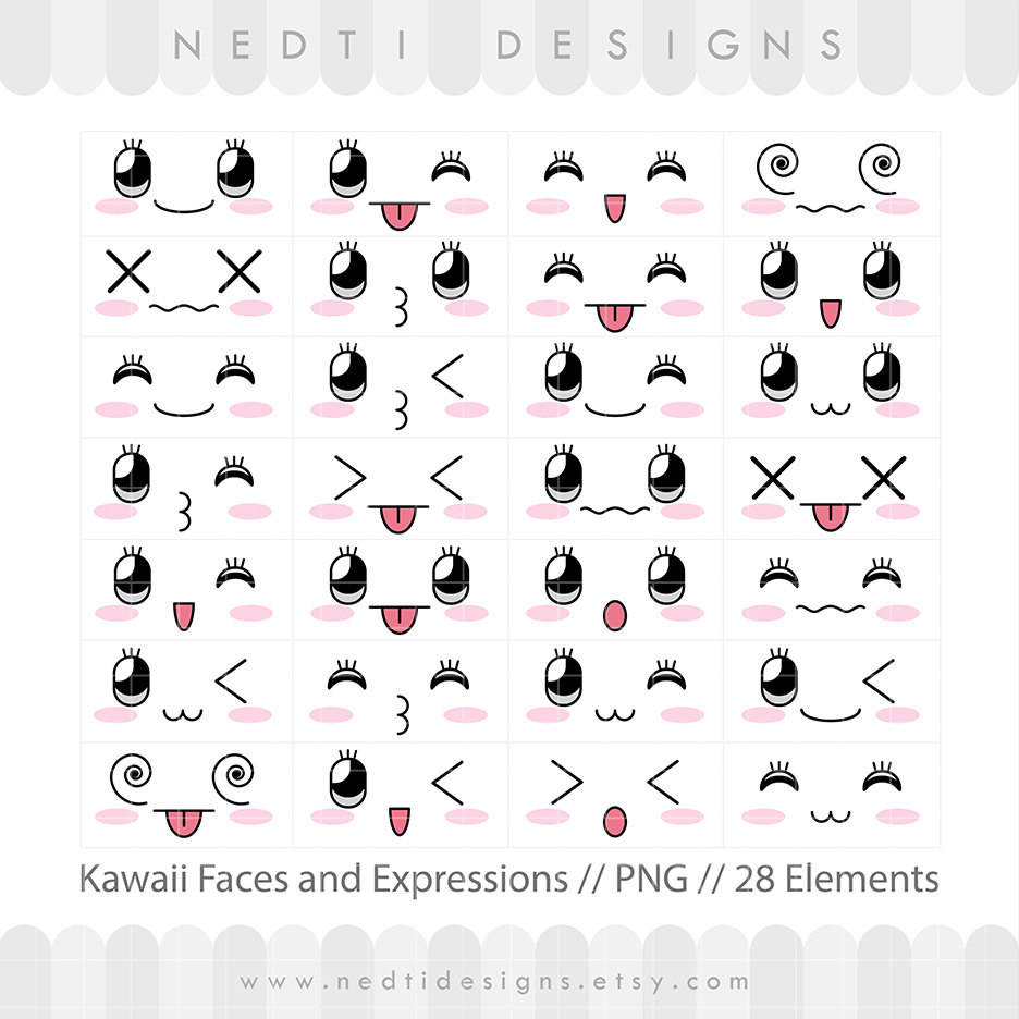28 Kawaii Cute Faces Clipart Face Expressions Overlay Clip.