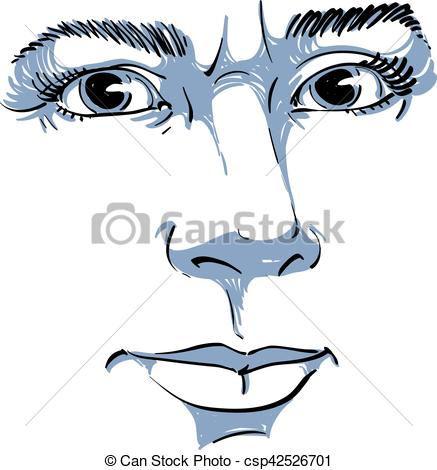 Vector Clipart of Vector portrait of irate woman, illustration of.