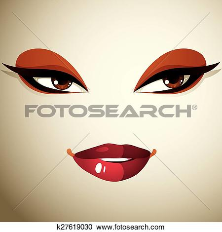 Clipart of Facial expression of a young pretty woman. Coquette.