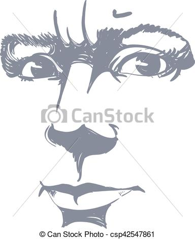 Clip Art Vector of Vector portrait of irate woman, illustration of.