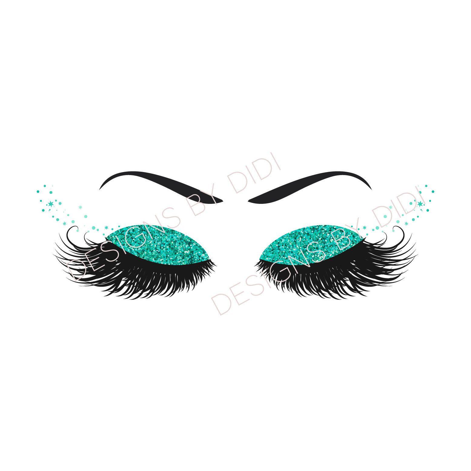 Instant Download, Lash Clipart, glitter teal lashes clip art.
