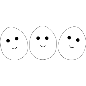 Three eggs with eyes and mouth clipart, cliparts of Three eggs with.