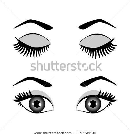 Closed Eyes Black Fluffy Eyelashes On Stock Vector 416601631.