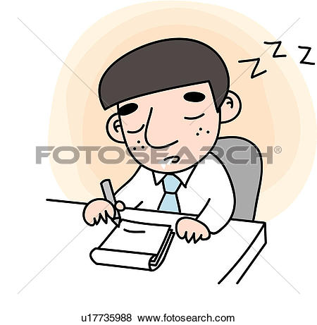 Clip Art of eyes closed, tired, slobber, snap, sleep, businessman.
