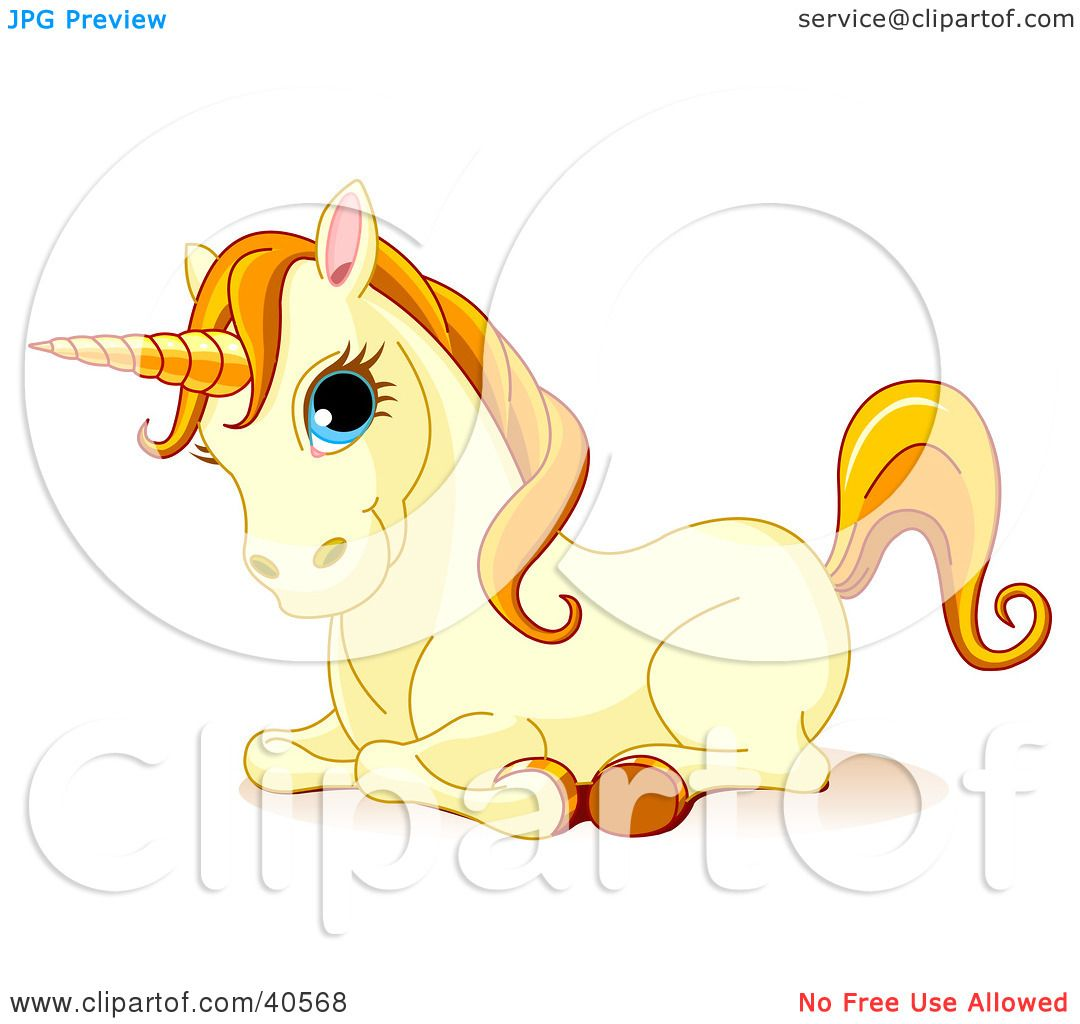 Clipart Illustration of a Resting Cute Yellow Unicorn With Blue.