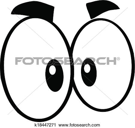 Clipart of Black And White Cute Cartoon Eyes k18447271.