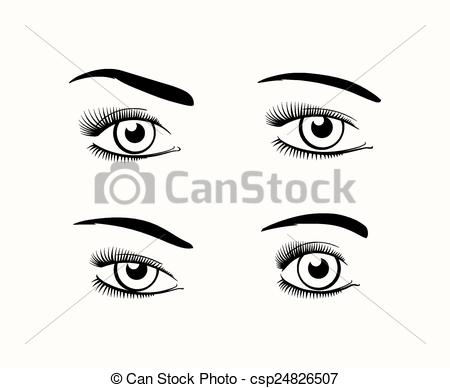 Vector Clipart of Woman eye silhouettes.
