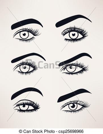 Clip Art Vector of Silhouette of female eyes open, different.
