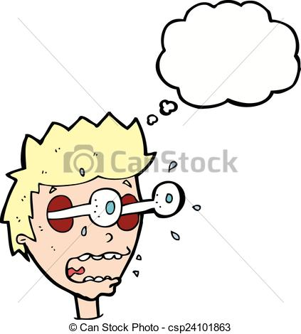 Clip Art Vector of cartoon surprised man with eyes popping out.