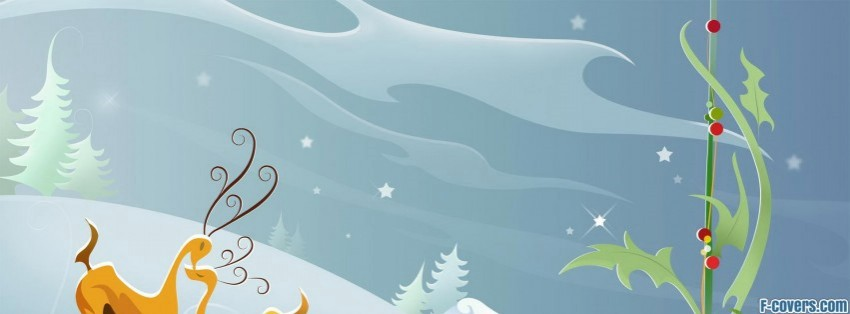 christmas deer clipart Facebook Cover timeline photo banner.