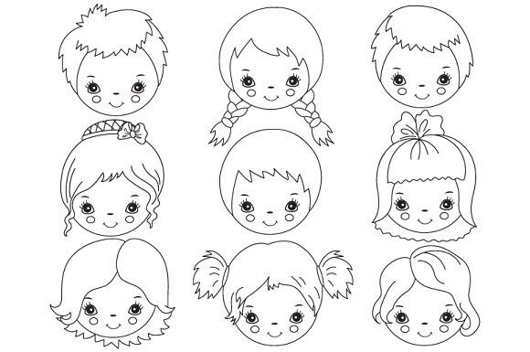 Vector Black & White Kids Faces.