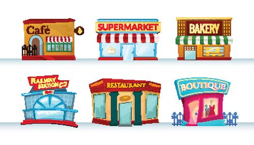 Different city facilities, vector illustration Clipart Image.