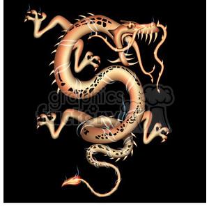 dragon facing right clipart. Royalty.
