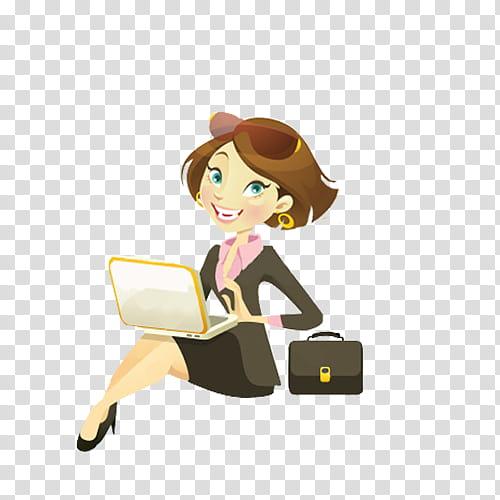 O Nenitas, woman facing laptop illustration transparent.