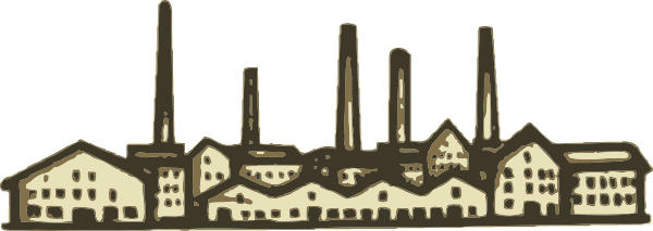 Factory building with smoke stacks clipart.