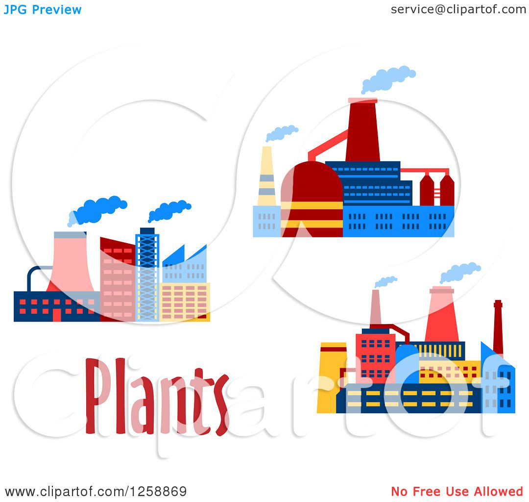 Clipart of Colorful Factory Buildings with Plants Text.