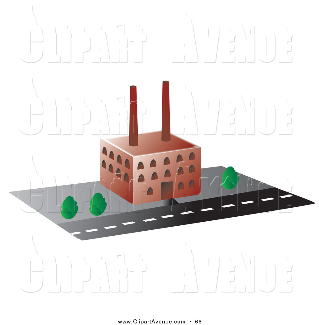 Avenue Clipart of a Red Factory Building by Rasmussen Images.