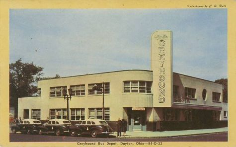 1940s postcard of the Art Deco Greyhound bus station in.