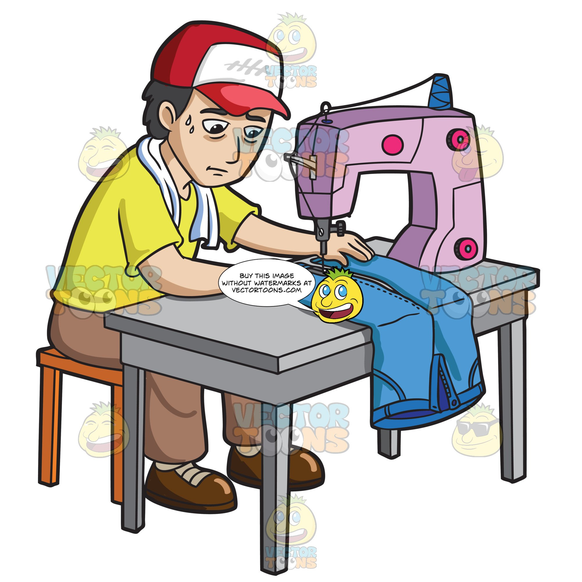 A Factory Worker Sewing A Pair Of Jeans.