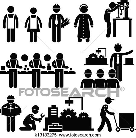 Factory Worker Manager Working Clipart.