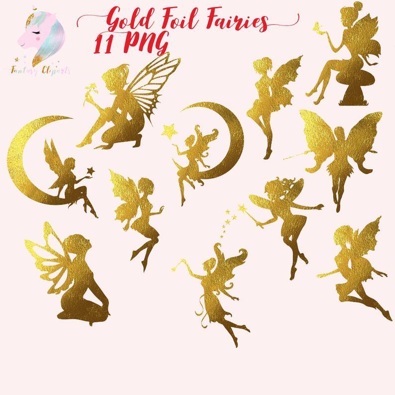 Gold foil fairies, fairy clip art, gold foil clipart, fairy silhouettes,  christmas graphics, fantasy cliparts, fairy on the moon, fairies,.