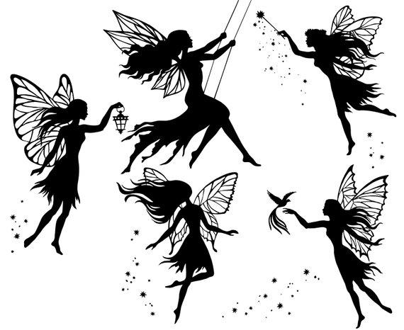 Fairy, Fairies, Silhouette,SVG,Graphics,Illustration,Vector,Logo.