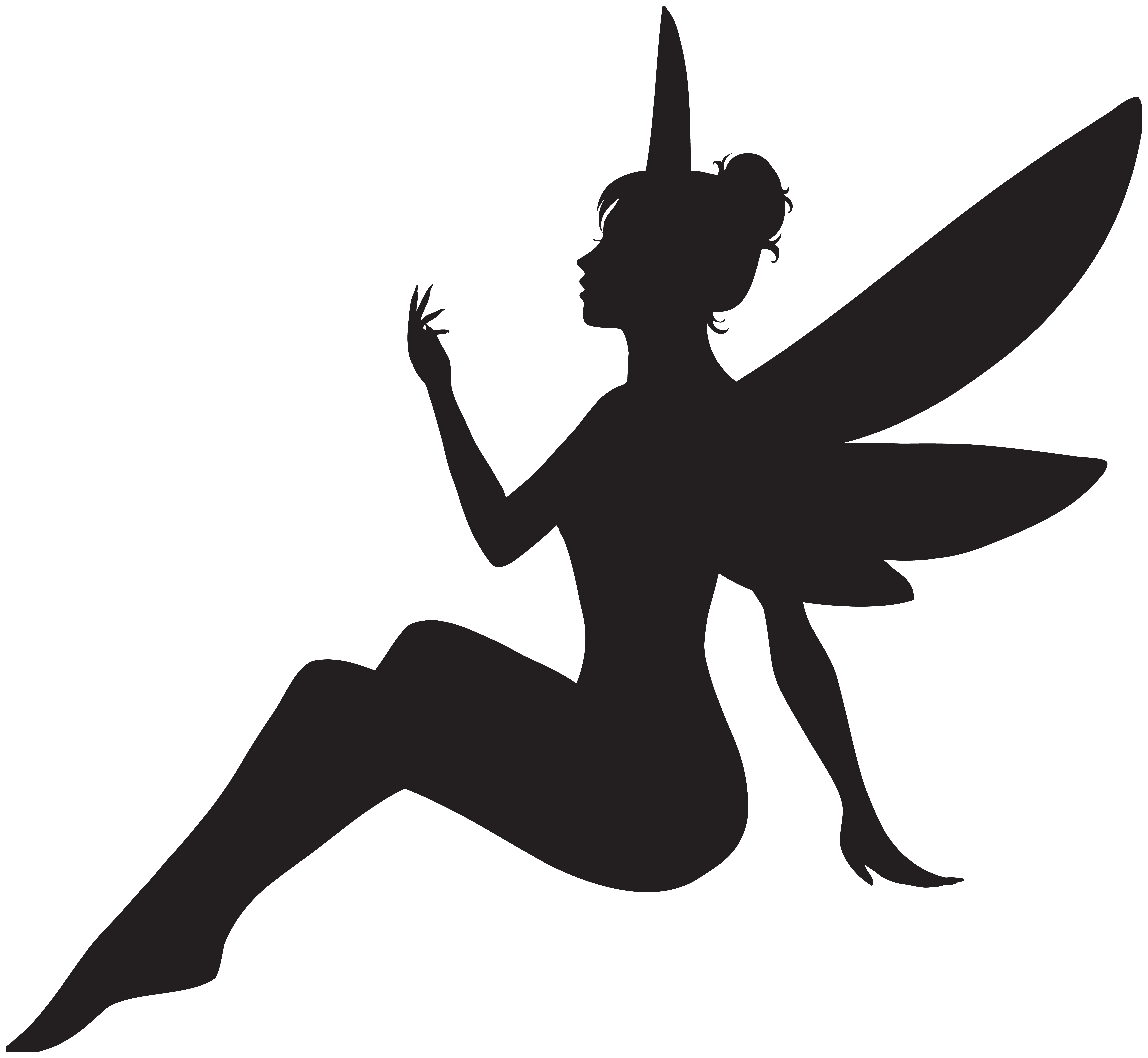 Fairy Silhouette PNG Clip Art Image.