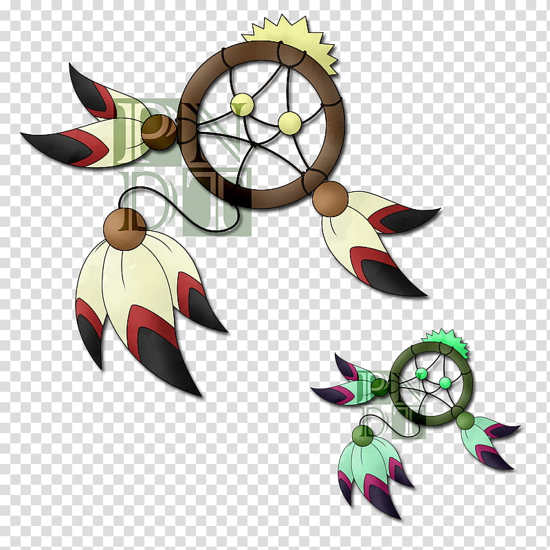 Fakemon FEADREAM, two multicolored dream cathers.