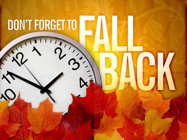 Fall Back Time Change Clip Art.
