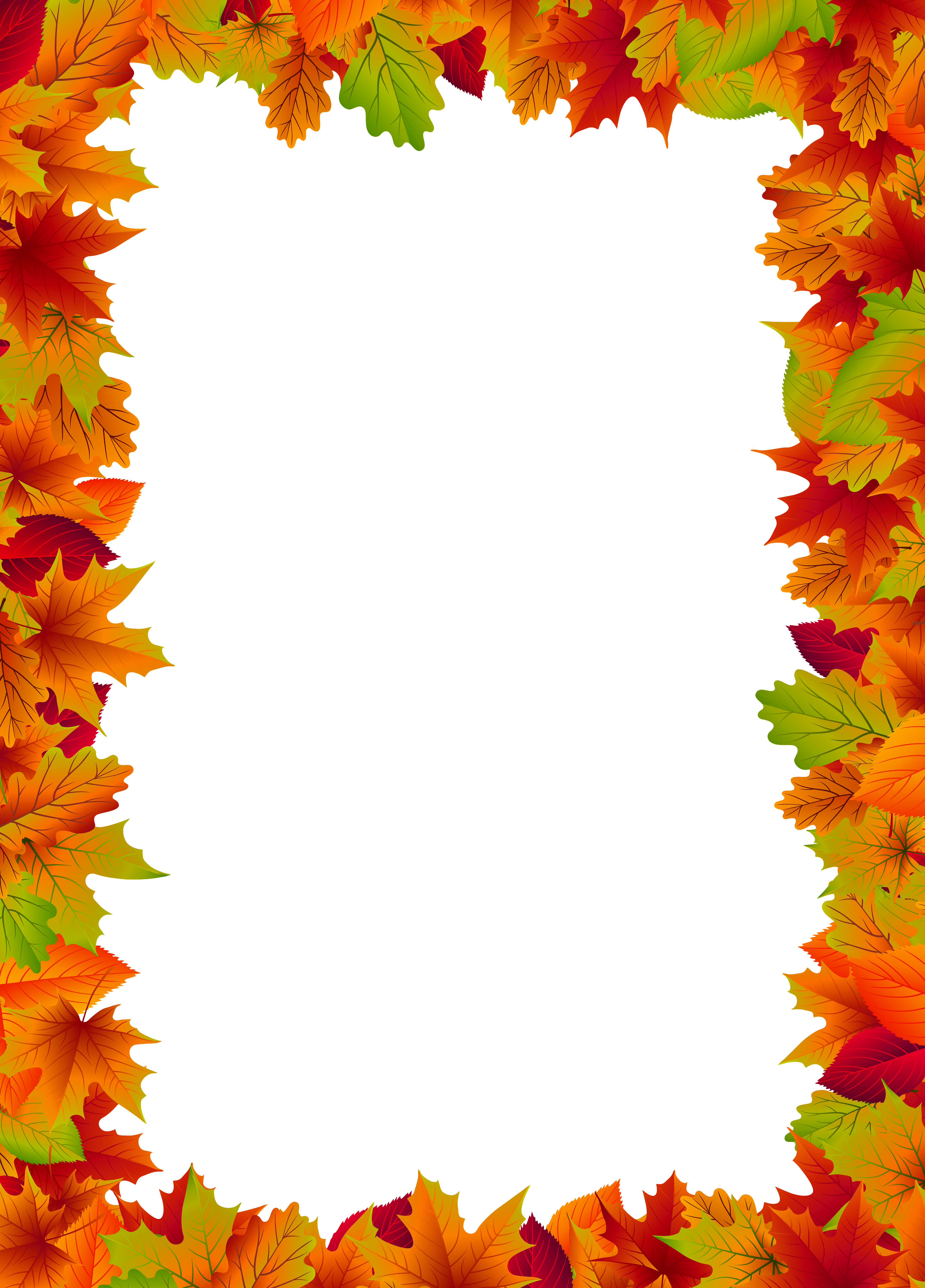 Fall Border Frame PNG Clip Art Image.