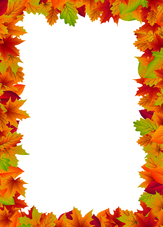 Fall Border Frame PNG Clip Art Image.