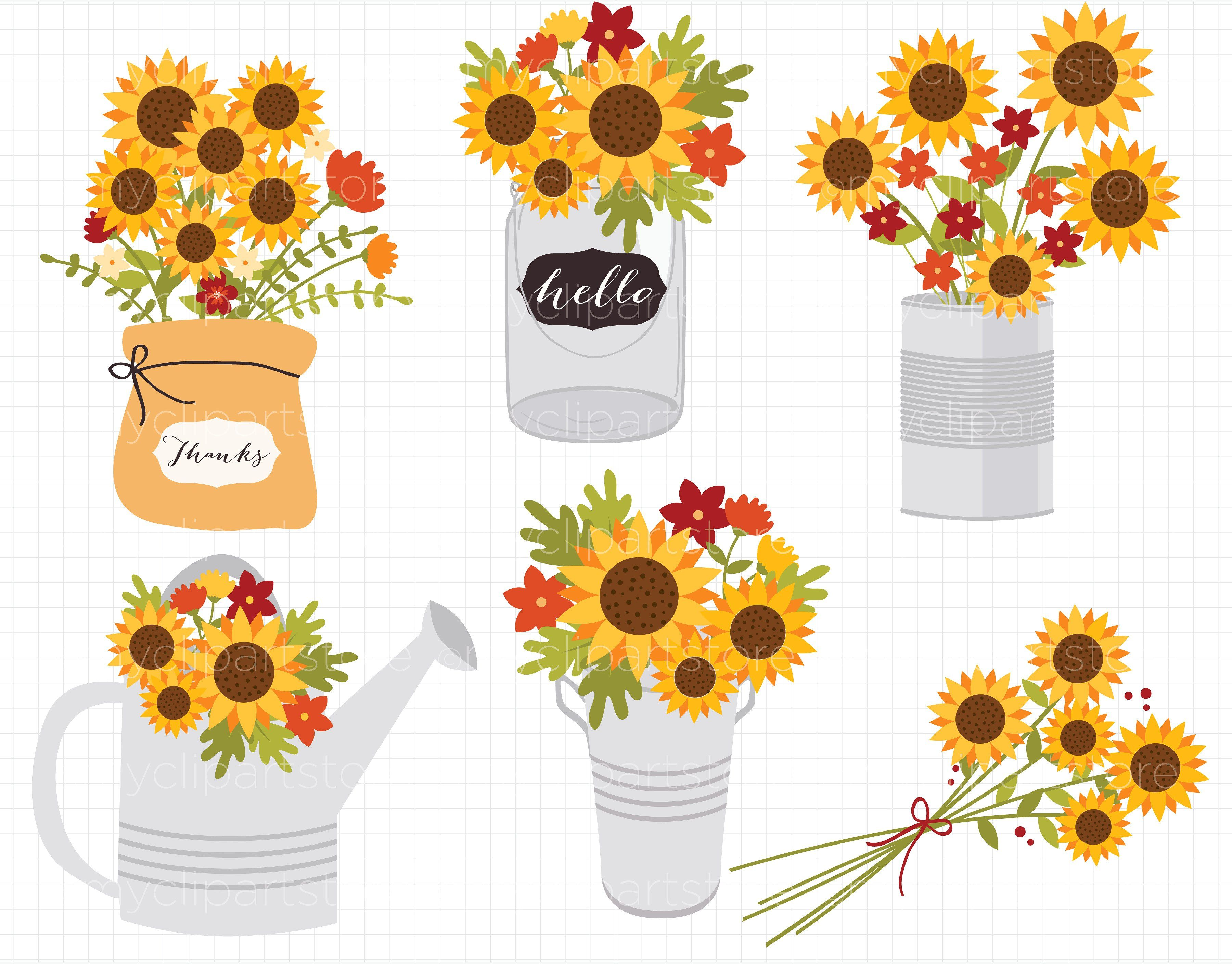Sunflowers, Fall Flowers Clipart #AUTUMN#THANKSGIVING.