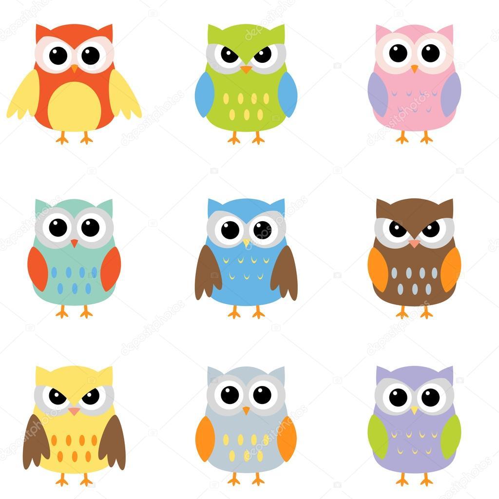Color owls clip art — Stock Vector © yuliya_m #6060737.