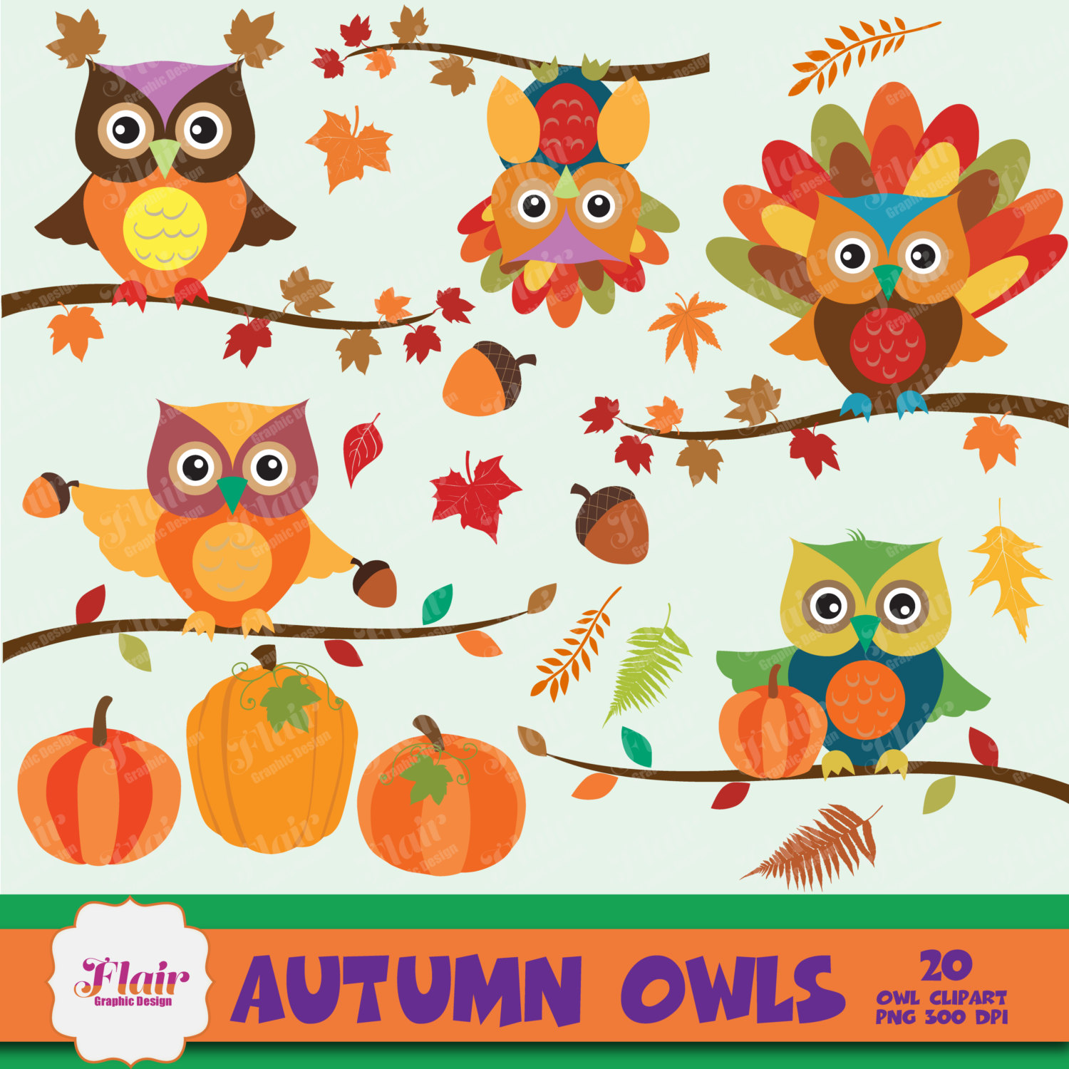 AUTUMN OWLS Digital Clipart, Pumpkin, Fall Colors, Thanksgiving.