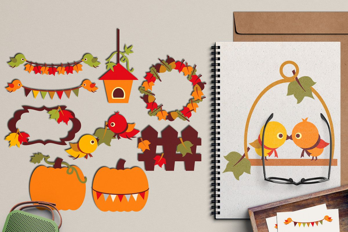 Autumn clipart, autumn leaves, birds, pumpkin, fall season.