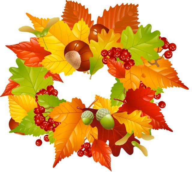 Colorful clip art for the fall season leaves wreath.
