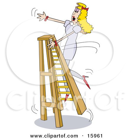 Clumsy Blond Woman Trying To Climb A Ladder In Heels, Falling Over.