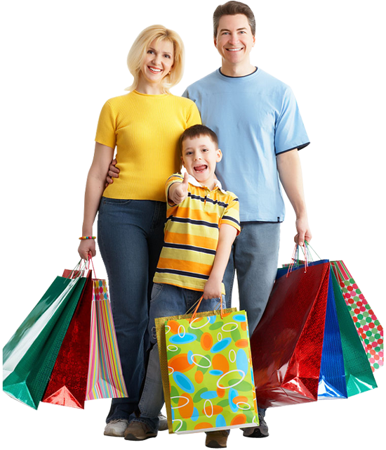 Household Stores: Clipart Families Shopping